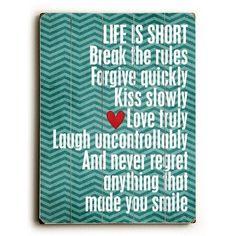 Artehouse LLC Life is Short Wood Sign Color: