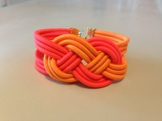 Bracelet noeud marin corail & orange
