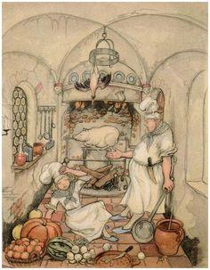 Anton Pieck - Sleeping Beauty Castle sleeping cooks - Tales of the Efteling by Martine Bijl Anton Pieck, Sleeping Beauty Castle, Vintage Fairies, Vintage Art, Fairytale Art, Dutch Painters, All Nature, 3d Prints, Dutch Artists
