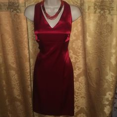 """Nicole Miller semi formal dress Fully lined acetate/poly dress. Length is just below the knee or 25.5"""" from bustline. Ties in the back as shown in last photo. Worn 1 time, mint condition! Nicole Miller Dresses Midi"""