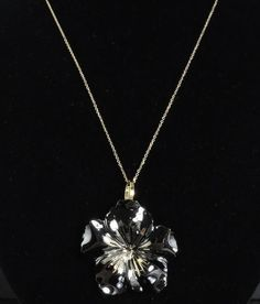 """Italian Two Tone 14K Black & Yellow Gold Diamond Cut Flower Pendant Necklace 18"""" in Jewelry & Watches, Fine Jewelry, Fine Necklaces & Pendants   eBay"""