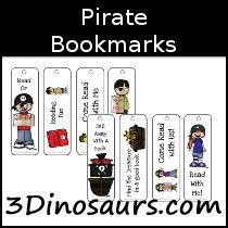Pirate Themed Bookmarks - 3Dinosaurs.com