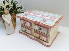 Jewelry Box Upcycled Wooden Hand Painted by TreasuresbyMarylou, $35.00