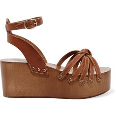 Étoile Isabel Marant Zia leather platform sandals (£119) ❤ liked on Polyvore featuring shoes, sandals, tan, platform shoes, leather platform sandals, platform sandals, strappy leather sandals and tan leather shoes