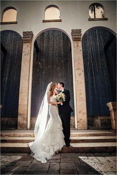 Beautiful Waterfall Backdrop for Wedding Ceremony at The Bell Tower on 34th Street ~ Photo: Steve Lee Weddings