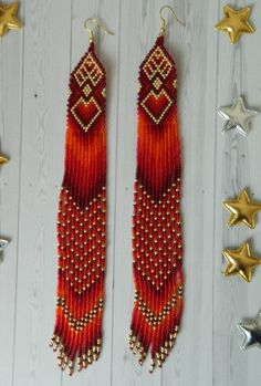 Cross Stitch Kits and Beaded Emboidery Kits by mega-embroidery Beaded Earrings Native, Beaded Earrings Patterns, Red Earrings, Seed Bead Earrings, Fringe Earrings, Earrings Handmade, Beaded Jewelry, Seed Beads, Bracelet Patterns