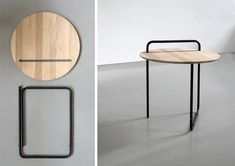 Clip is a simple portable and foldable coffee table, made of bended steel tubes and oak wood. The project is a combination of minimal structure and maximum functionality. The frame was inspired by a paper clip, and the table top can serve separately as a tray.
