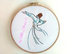Dervish / Hoop Art / Handmade / Gift / Embroidery / Wall Art / Wall Hanging by AtelierbyMsAries on Etsy