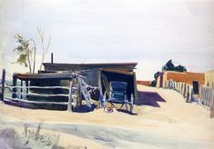 Edward Hopper - Adobes and Shed, New Mexico - 1925 - watercolor - Whitney Museum of American Art - New York American Realism, American Artists, Manet, Edouard Vuillard, Toulouse, Edouard Hopper, Artist Shed, Edward Hopper Paintings, Pilgrim