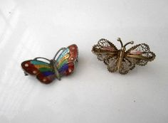 Vintage small Enamel and Filigree butterfly by houuseofwren,