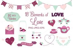 Check out Valentines Day Elements by Digital Sugar on Creative Market