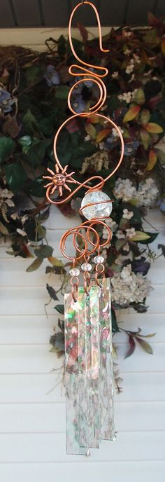 Sun Wind Chimes Copper Garden Art Sculpture by DragonflyDreams1