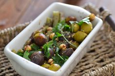 Moroccan Spiced Olives with Crunchy Pickled Green Beans (use sugar-free pickles)