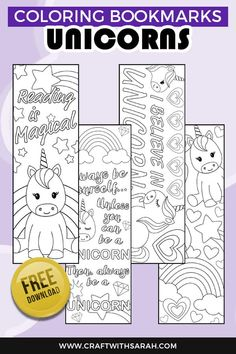 Encourage your kids to read with these magical unicorn bookmarks to color. Simply print, color and then cut out for four wonderful unicorn bookmarks. Unicorn coloring pages are great... but unicorn coloring BOOKMARKS are even better! #bookmarks #unicorns #unicorncrafts