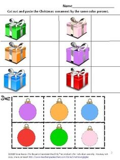 Free Christmas Cut and Paste, Christmas Fine Motor Activities Special Education Free Preschool, Preschool Kindergarten, Preschool Worksheets, Motor Skills Activities, Fine Motor Skills, Christmas Activities, Christmas Fun, Cut And Paste Worksheets, Xmas