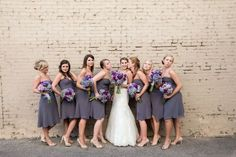 Amazing Wedding Party Group Shots in this Grey and Purple Wedding