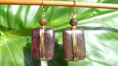 Elegant Aventurine Gold Wire Wrapped Earring by tranquilitybox. , via Etsy.