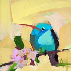 Hummingbird no. 81 original bird oil painting by Angela Moulton prattcreekart