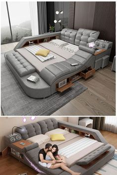 The ultimate bed comes with an integrated massage chair, bluetooth speakers, a pop-up desk to work right in bed, a reading light, an area to charge devices Bedroom Bed Design, Bedroom Decor, Smart Bed, Cute Car Accessories, Massage Chair, Furniture Design, Smart Furniture, Architecture Design, Interior Decorating