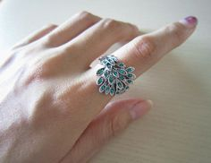 This is cute...........peacock  ringgreen rhinestone peacock ringbest gift to by Viviens, $11.00