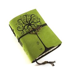 leather bound journal - green suede