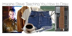 """""""Imagine Steve Teaching You How to Draw"""" by fandomimagineshere ❤ liked on Polyvore featuring American Apparel"""