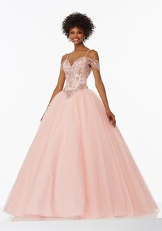 Beaded Tulle Prom Gown with Off-the-Shoulder Cap Sleeves and Basque Waistline. Corset Back. Colors Available: Peacock, Blush, Aqua.