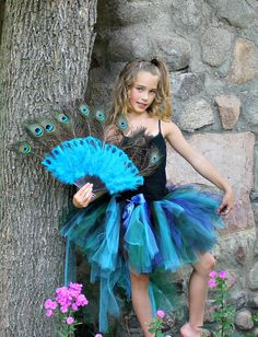 "Peacock Bustle Style Tulle Tutu with ""Tail"" for Teens or Adult XS up to a 30"" Waist"