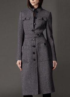 Gray Long Sleeve Belted Coat   #USTrendy  www.ustrendy.com