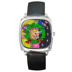 Christmas Grinch's Cindy Lou Ho in Wreath on a Square Watch w/ Leather Band #Citizen