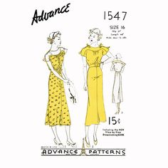 1930s Dress Vintage Sewing Pattern Bust 34 Advance by CynicalGirl, $58.00