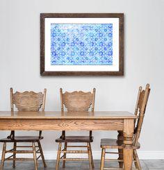 Mattonelle di mosaico di mattonelle blu, cucina spagnola, grande arte, Decor blu, pervinca, grande parete arte, arte della parete di cucina, cucina Decor, Tegole spagnole,