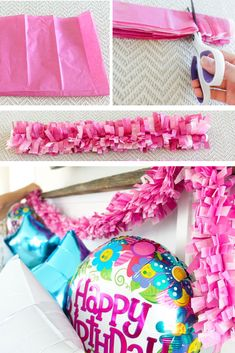 DIY Party Decorations How to make fringed tissue paper garland. How to decorate on a budget. The post DIY Party Decorations appeared first on Paper Diy. Tissue Paper Decorations, Tissue Paper Garlands, Diy Baby Shower Decorations, Tissue Paper Crafts, Diy Birthday Decorations, Balloon Decorations Party, Birthday Diy, Decoration Party, Diy Decorations For Party