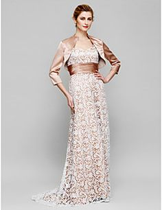 LAN+TING+BRIDE+Sheath+/+Column+Mother+of+the+Bride+Dress+-+Convertible+Dress+Sweep+/+Brush+Train+3/4+Length+Sleeve+Lace+Charmeuse+with+–+AUD+$+607.75
