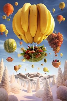 """Food Art Photography by Carl Warner """"Banana Ballon"""" This artist is amazing. I am not a fan of food art at all, but this guy takes it to another level. Carl Warner, Food Design, Web Design, Diy Kit, Creative Advertising, Food Advertising, Fruit Art, Edible Art, Hot Air Balloon"""