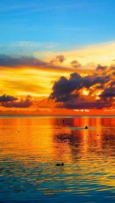 Sunset over Guam, Pacific Ocean.