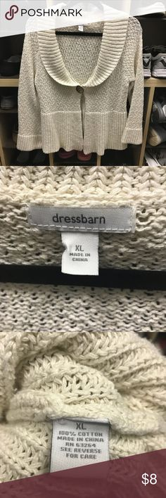 Dress Barn Sweater in XL Dress Barn 100% Cotton sweater. Single button in the front. Bought on Poshmark and doesn't fit me well in the busy area. Good condition! Dress Barn Sweaters Shrugs & Ponchos