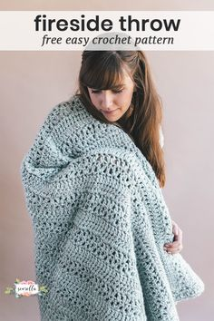 Crochet this easy beginner friendly warm and lacy Fireside Throw Blanket with the free pattern on my blog!