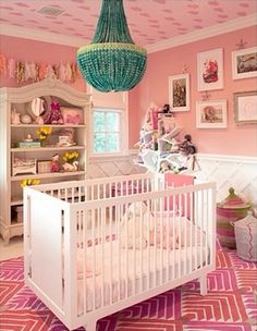 "When you're a mini Kardashian, you need to nap in the lap of fabulous, obviously. For her daughter Penelope's room, the reality star lined the ceiling with rose-covered wallpaper, which is accented by a contrasting turquoise beaded chandelier. Lattice-covered beadboard plays off the lines of the modern crib and the unique graphic rug in this spotlight-ready nursery. The mom of three described the space as ""my favorite room"" in her Calabasas, California home."