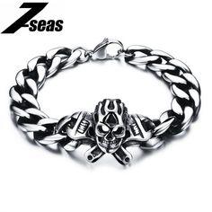 Punk Skull Stainless Steel Bracelet Big Heavy Men Bracelet Biker Motorcycle Hand Chain Jewelry For Best Skeleton Bracelet, Hand Bracelet, Skull Bracelet, Bracelet Men, Bracelet Charms, Bracelets For Men, Fashion Bracelets, Bangle Bracelets, Fashion Jewelry