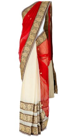 Sabyasachi: Ivory chanderi sari with bird achol. Need for bridesmaids Sabyasachi Sarees, Indian Sarees, Anarkali, Lehenga, Indian Attire, Indian Ethnic Wear, India Fashion, Asian Fashion, Pakistan Fashion