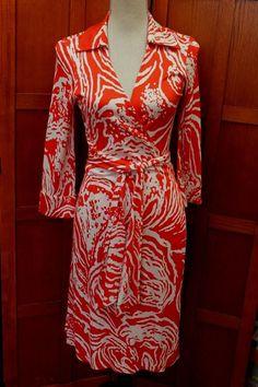 535246d3e56 Diane von Furstenberg DVF Vintage Justin White Red Silk Wrap Dress 6 S M   DianevonFurstenberg White