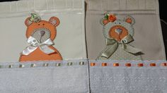 LOY HANDCRAFTS, TOWELS EMBROYDERED WITH SATIN RIBBON ROSES: TOALHA PERSONALIZADA COM URSA