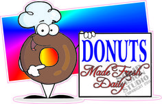 """7"""" Donuts Fun Food Bakery Deli Gas Station Shop Concession Trailer Sign Decal"""
