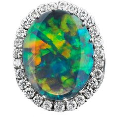 Pre-owned 9.10-Carat Black Opal Ring ($38,850) ❤ liked on Polyvore featuring jewelry, rings, cocktail rings, black jewelry, black statement ring, statement rings and antique jewellery