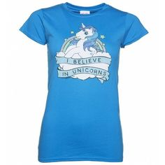 Women's My Little Pony I Believe In Unicorns T-Shirt ($27) ❤ liked on Polyvore featuring tops, t-shirts, star print top, unicorn tee, my little pony tee, rainbow tee and unicorn top