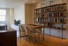 industrial looking bookshelves
