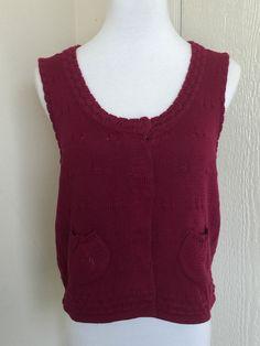 Anthropologie Sparrow size M dark red knit cotton sleeveless cardigan sweater  #Sparrow #Cardigan