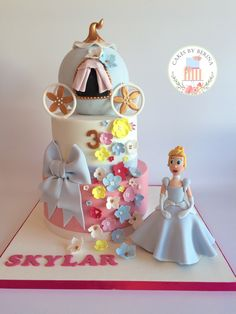 Cinderella birthday cake with edible handmade Cinderella figure and carriage