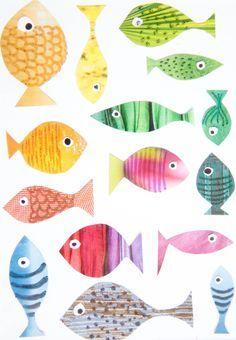 Fische basteln mit Kindern: Fische aus knallbunten Zeitschriftenseiten ausschneiden, anmalen, Augen aufkleben: fertig ist die Kinderzimmer-Deko.